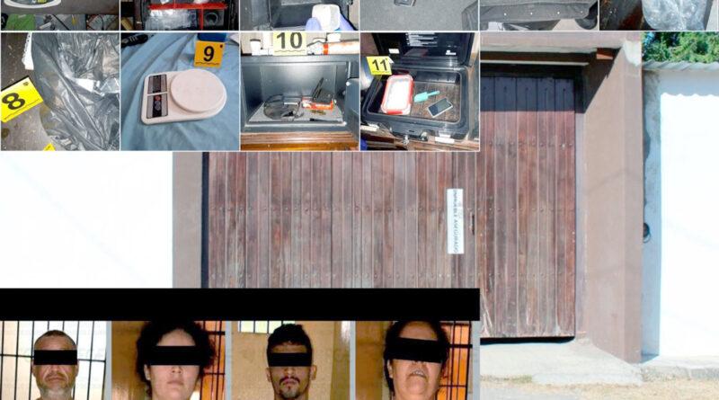 Asegura FGE gran cantidad de droga y armas; hay 4 detenidos